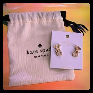Kate Spade Jazz Things Up Pave Cat Stud Earrings